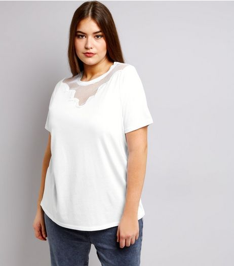 Curves White Mesh Yoke T-Shirt | New Look