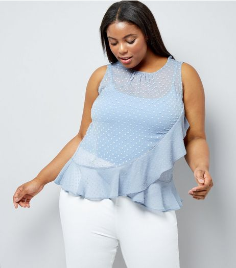 Curves Pale Blue Frill Trim Chiffon Top | New Look
