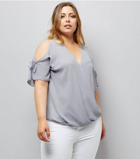 Curves Wrap Front Cold Shoulder Tie Sleeve Top | New Look