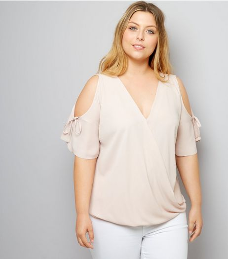 Curves Shell Pink Cold Shoulder Top | New Look