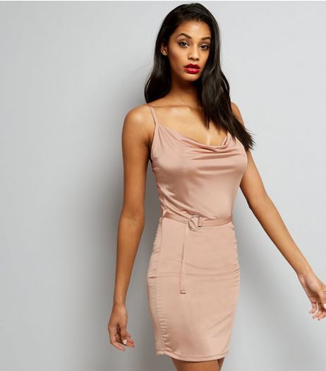 Shell Pink Cowl Neck Bodycon Dress  | New Look