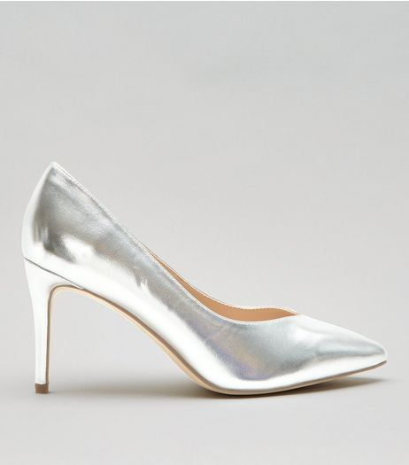 Wide Fit Silver Metallic Pointed Heels | New Look