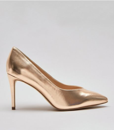 Wide Fit Rose Gold Metallic Pointed Heels | New Look