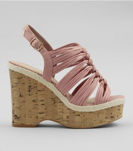 Wide Fit Nude Pink Wedge Heels  | New Look