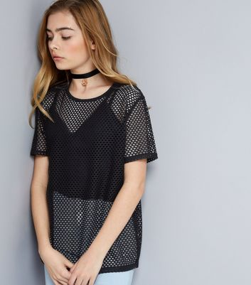 Teens Black Mesh Oversized T-Shirt