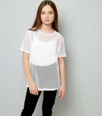 Teens White Mesh Oversized T-Shirt
