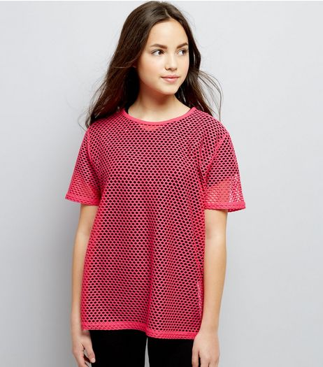 Teens Bright Pink Mesh Oversized T-Shirt | New Look