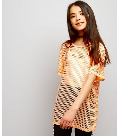 Teens Orange Mesh Oversized T-Shirt | New Look