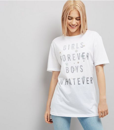 White Embellished Slogan Print T-Shirt  | New Look