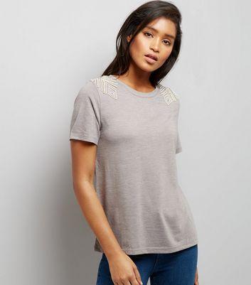 Grey Diamante Pearl Shoulder T-Shirt