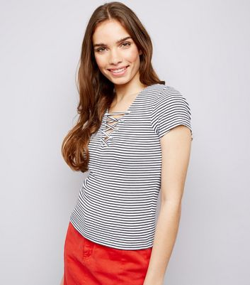 White Stripe Lattice Front Ribbed T-Shirt
