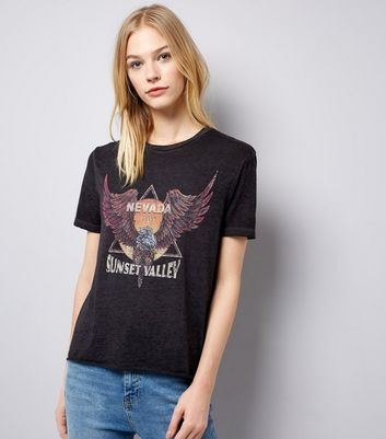 Dark Grey Ripped Back Rock T-Shirt