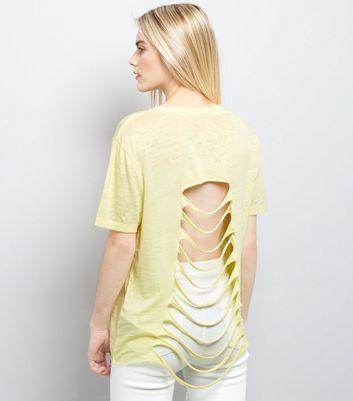 Yellow Nevada Print Ripped Back T-Shirt