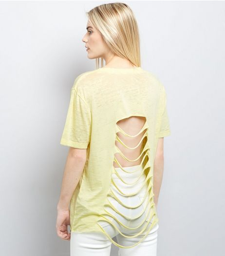 Yellow Nevada Print Ripped Back T-Shirt  | New Look