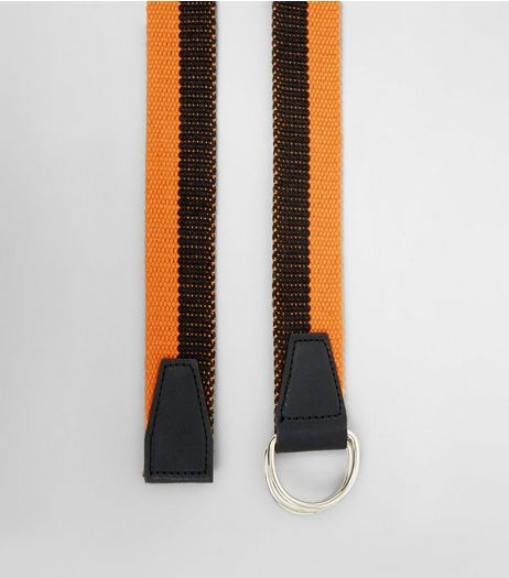 Coral and Black Stripe Textured Belt | New Look