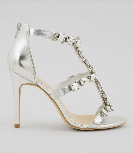 Silver Chunky Crystal Embellished T Bar Heels | New Look