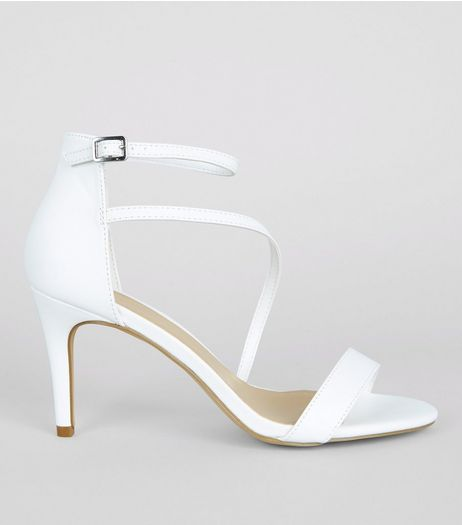White Asymmetric Strap Heeled Sandals | New Look
