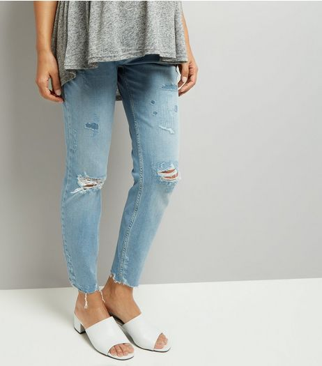 Maternity Blue Under Bump Ripped Relaxed Skinny Jeans | New Look