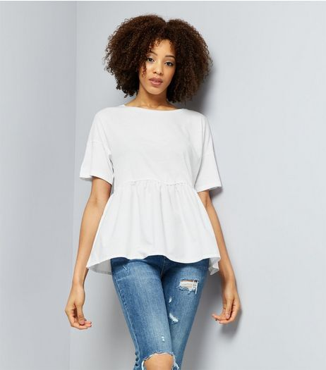 White Peplum Hem Short Sleeve T-Shirt  | New Look