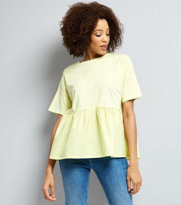 Yellow Peplum Hem Short Sleeve T-shirt