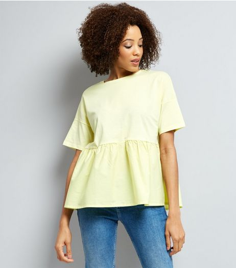 Yellow Peplum Hem Short Sleeve T-shirt  | New Look