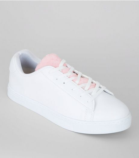 White Faux Fur Tongue Trainers | New Look