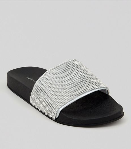 Silver Diamante Pool Sliders | New Look