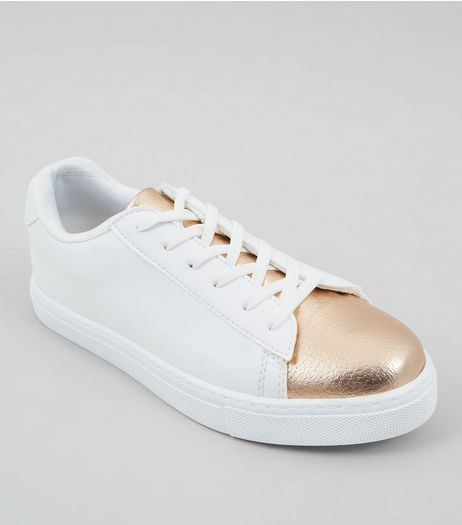 White Contrast Metallic Toe Trainers | New Look
