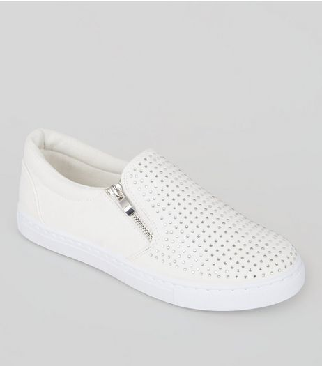 White Diamante Embellished Zip Plimsolls | New Look