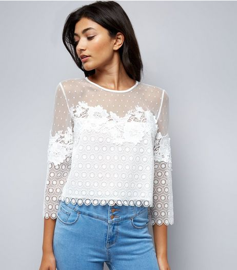 Tall White Spot Mesh Lace Detail Top | New Look