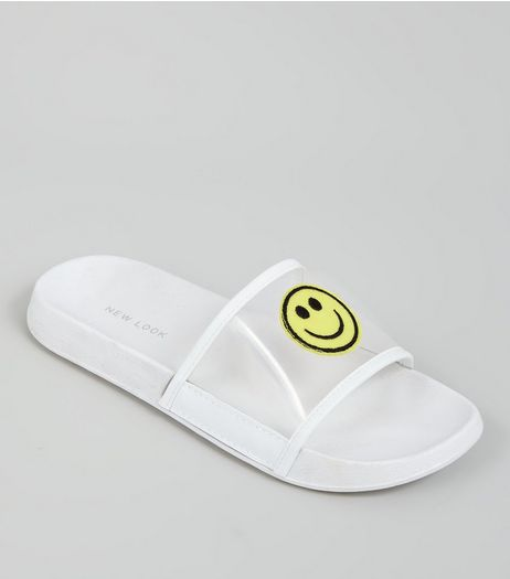 White Mesh Smiley Face Pool Siders | New Look