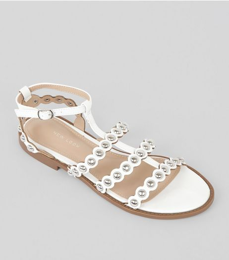 White Stud Gladiator Sandals | New Look