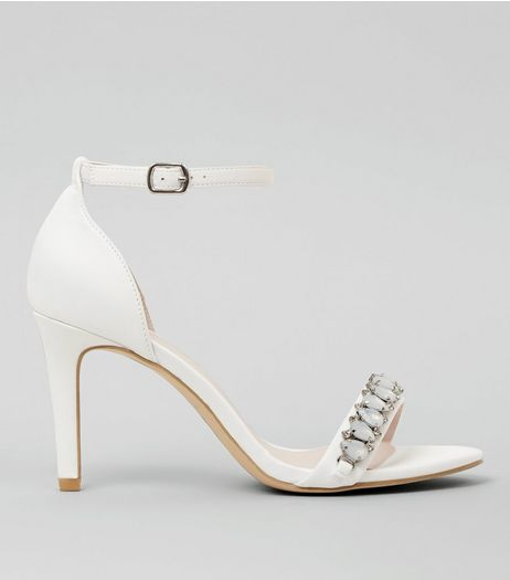 Wide Fit White Diamante Stone Ankle Strap Heels | New Look