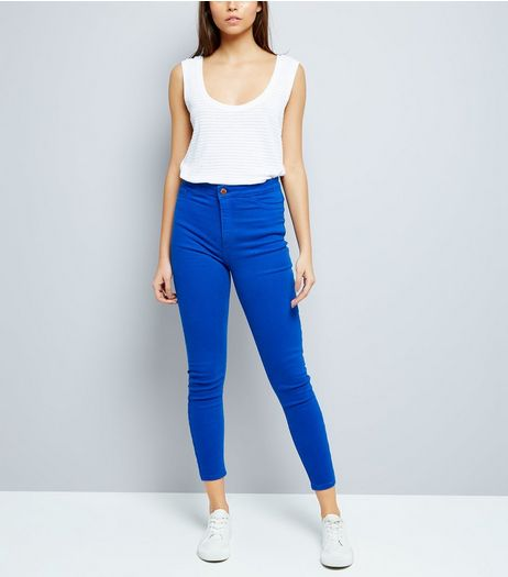 Bright Blue High Waist Skinny Hallie Jeans | New Look