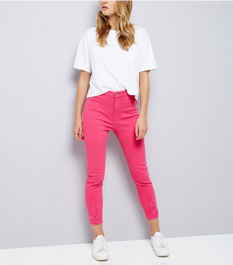 Bright Pink Hallie Jeans  | New Look