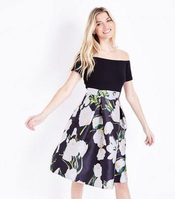 AX Paris Black Floral Skirt Bardot Dress