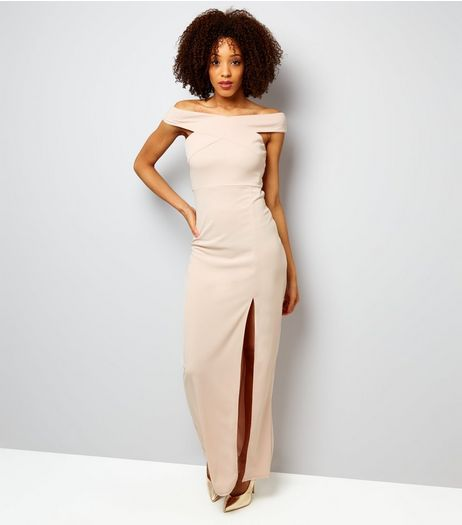 AX Paris Shell Pink Bardot Neck Slip Side Maxi Dress  | New Look