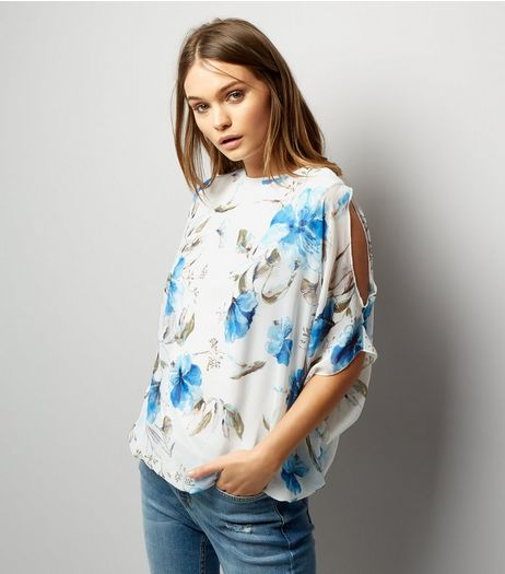 Blue Vanilla Blue Floral Chiffon Cold Shoulder Top | New Look