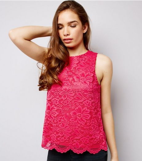 Bright Pink Lace Sleeveless Top  | New Look