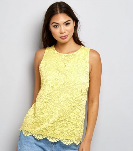 Yellow Lace Sleeveless Top  | New Look