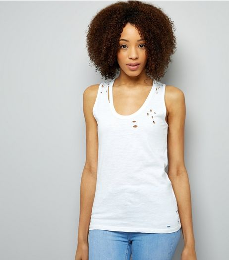 White Ripped Vest | New Look