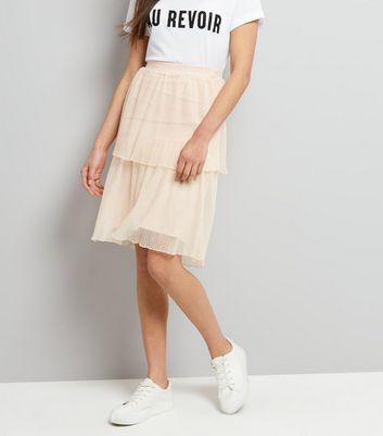 Shell Pink Tiered Midi Skirt