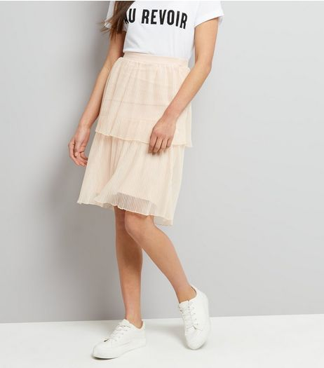 Shell Pink Tiered Midi Skirt  | New Look