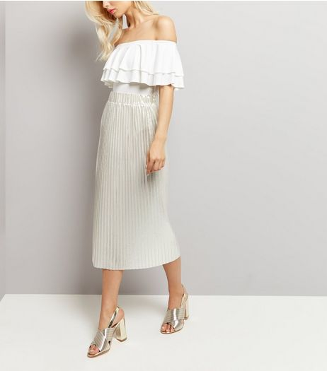 Silver Pleated Metallic Midi Skirt  | New Look