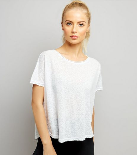 White Keyhole Back Sports T-Shirt | New Look