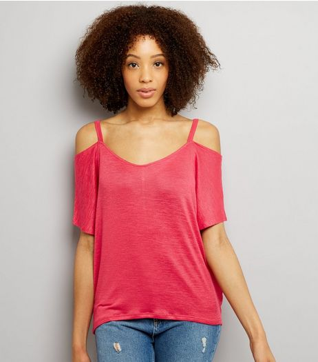 Bright Pink 1/2 Sleeve Cold Shoulder Top  | New Look