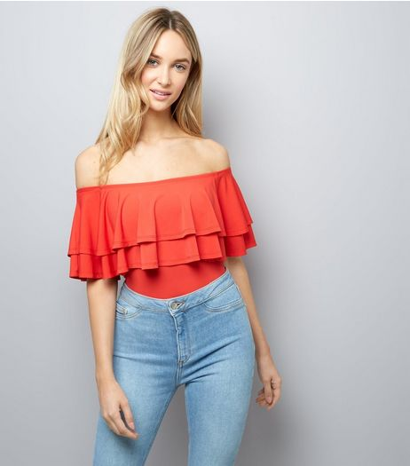 Red Layered Frill Trim Bardot Neck Bodysuit | New Look