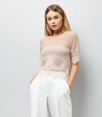 Shell Pink Spot Print Mesh Lace Trim T-Shirt