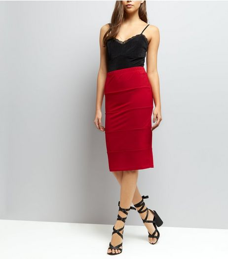 Red Midi Pencil Skirt  | New Look