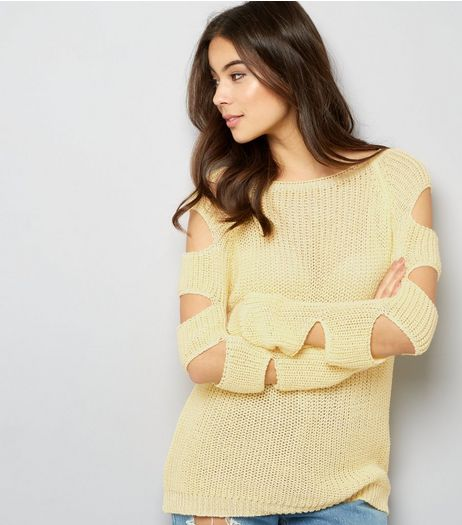 Cameo Rose Yellow Cut Out Sleeve Jumper | New Look
